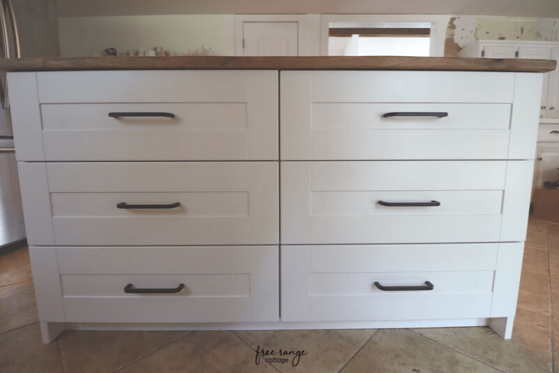 Ikea Diy Kitchen Island With Thrifted Counter Top Free Range Cottage